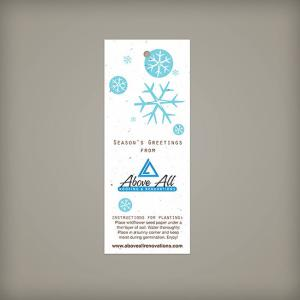 Large 100% Plantable Holiday Gift Tags - Blue Snowflakes