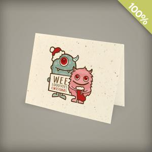 A2 Seed Paper Personalized Holiday Cards - Wee Monsters