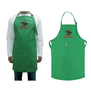 X-long Bib Apron 2 Pockets, Embroidered